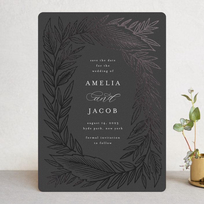 """""""Moody Leaves"""" - Foil-pressed Save The Date Cards in Onyx by Katharine Watson."""