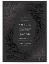 This is a black foil stamped save the date card by Katharine Watson called Moody Leaves with foil-pressed printing on recycled in standard.