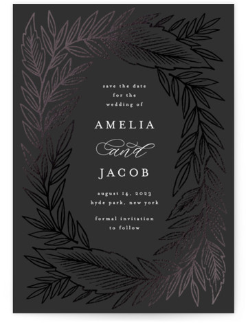 Moody Leaves Foil-Pressed Save The Date Cards