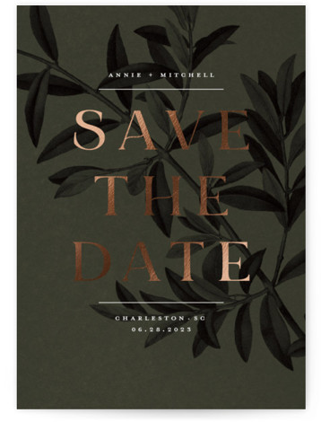 Olive Branch Foil-Pressed Save The Date Cards