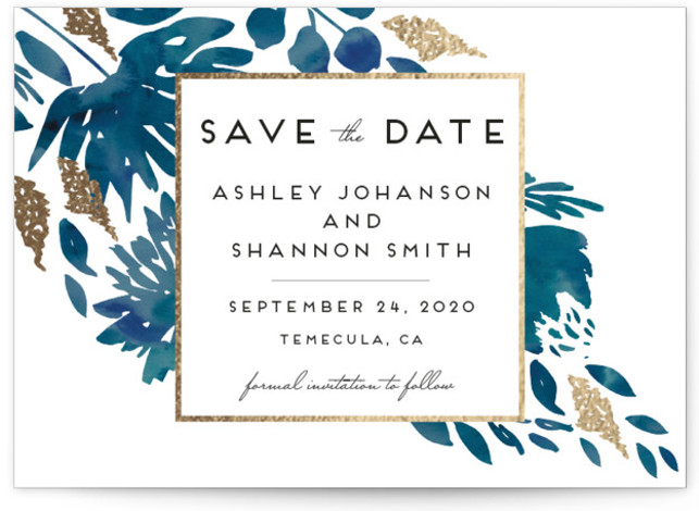 This is a landscape botanical, blue Save the Dates by Petra Kern called Watercolor Delight with Foil Pressed printing on Signature in Classic Flat Card format. Rich yet simple, elegant yet informal, classic yet modern