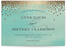 This is a green foil stamped save the date card by Eric Clegg called Confetti with foil-pressed printing on signature in standard.