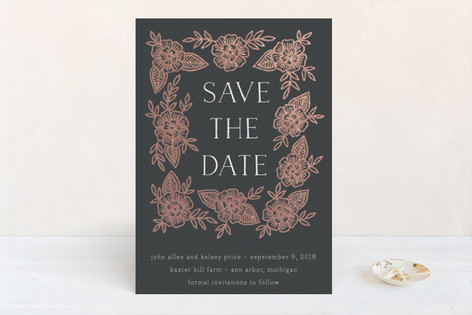 copper floral frame foil pressed save the date cards