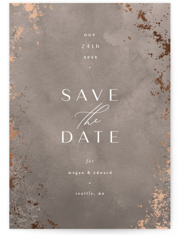Plaster Foil-Pressed Save The Date Cards