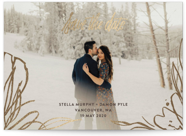 This is a landscape botanical, brown, gold Save the Dates by Rebecca Daublin called Adonis with Foil Pressed printing on Signature in Classic Flat Card format. Flowing energetic brushstrokes frame a full bleed photo save the date