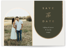 This is a green foil stamped save the date card by Kasia Labocki called Arches with foil-pressed printing on signature in standard.