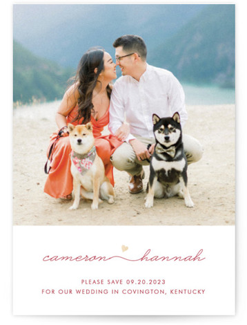 This is a landscape, portrait simple and minimalist, gold, red Save the Dates by Kim Dietrich Elam called Love Connection with Foil Pressed printing on Smooth Signature in Classic Flat Card format. Romantic, yet minimal.