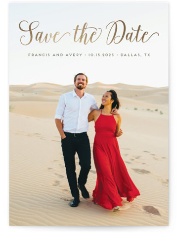 """This is a landscape, portrait classic and formal, gold Save the Dates by Alexandra Dzh called Stylish and Elegant with Foil Pressed printing on Signature in Classic Flat Card format. This simple card features full bleed photo and a """"Save ..."""