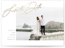 This is a white foil stamped save the date card by Kaydi Bishop called Top Side with foil-pressed printing on signature in standard.