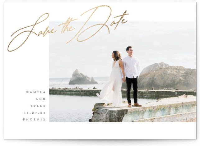 Top Side Foil-Pressed Save The Date Cards