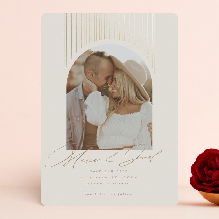 """""""Shine On"""" - Modern Foil-pressed Save The Date Cards in Ivory by Leah Bisch."""
