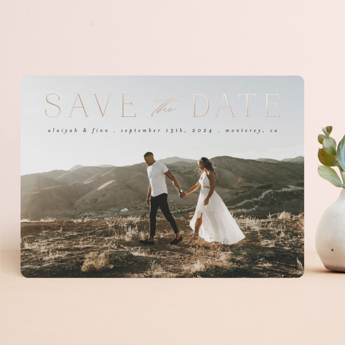 """""""Classic Lettering"""" - Foil-pressed Save The Date Cards in Charcoal by Morgan Kendall."""