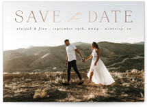 This is a black foil stamped save the date card by Morgan Kendall called Classic Lettering with foil-pressed printing on pearlescent in standard.