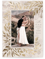 This is a beige foil stamped save the date card by Chris Griffith called Love Unlimited with foil-pressed printing on triplethick in standard.