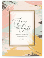 This is a colorful foil stamped save the date card by Rebecca Humphreys called Painted Date with foil-pressed printing on signature in standard.
