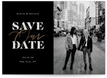 This is a black foil stamped save the date card by April Astudillo called Interlaced with foil-pressed printing on smooth signature in standard.