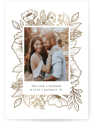 Cut Flowers Foil-Pressed Save The Date Cards