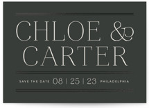 This is a black foil stamped save the date card by Susan Asbill called Classic Lines with foil-pressed printing on signature in standard.
