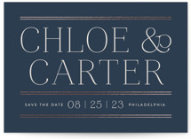 This is a blue foil stamped save the date card by Susan Asbill called Classic Lines with foil-pressed printing on signature in standard.