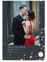 This is a blue foil stamped save the date card by Erin Deegan called Splattered with foil-pressed printing on smooth signature in standard.