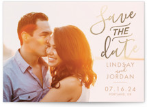 This is a beige foil stamped save the date card by Meg Chalmers called Romantic script with foil-pressed printing on smooth signature in standard.
