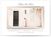 This is a white foil stamped save the date card by Erica Krystek called Framework with foil-pressed printing on smooth signature in standard.