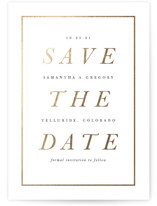 This is a white foil stamped save the date card by Brooke Chandler called Classical with foil-pressed printing on signature in standard.