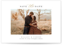 This is a white foil stamped save the date card by Jessica Williams called Timeless with foil-pressed printing on smooth signature in standard.