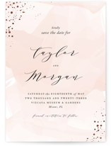 This is a pink foil stamped save the date card by Jennifer Postorino called Formal Watercolor with foil-pressed printing on signature in standard.