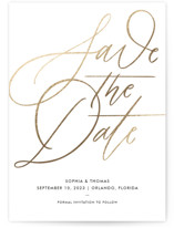 This is a white foil stamped save the date card by Kristen Smith called Delicate Dates with foil-pressed printing on triplethick in standard.