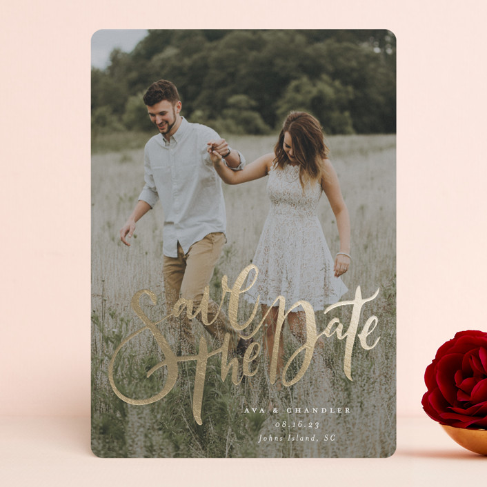 """""""Summertime Love"""" - Foil-pressed Save The Date Cards in Cloud by Annie Mertlich."""