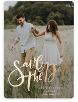 This is a white foil stamped save the date card by Wildfield Paper Co called Summertime Love with foil-pressed printing on smooth signature in standard.