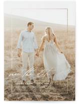 This is a white foil stamped save the date card by Kelly Schmidt called Gilded Frame with foil-pressed printing on smooth signature in standard.