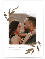 This is a white foil stamped save the date card by Robert and Stella called Redwood with foil-pressed printing on smooth signature in standard.