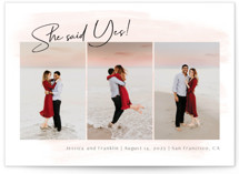 This is a pink foil stamped save the date card by frau brandt called Yes forever with foil-pressed printing on smooth signature in standard.