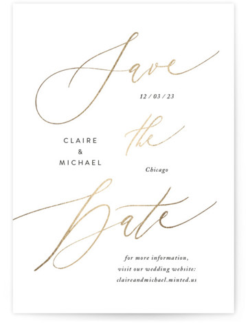 Glaze Foil-Pressed Save The Date Cards
