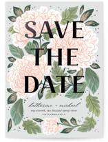 This is a green foil stamped save the date card by Paper Raven Co. called Enchantment with foil-pressed printing on signature in standard.