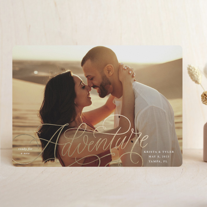 """""""A New Adventure"""" - Foil-pressed Save The Date Cards in Cloud by Kristen Smith."""