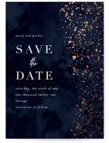 This is a blue foil stamped save the date card by Angela Marzuki called glistening stardust with foil-pressed printing on triplethick in standard.