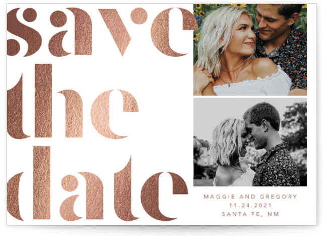 This is a bold typographic, hand drawn, brown Save the Dates by Anna Elder called Bold Love with Foil Pressed printing on Smooth Signature in Classic Flat Card format. Modern foil save the date with large typography.