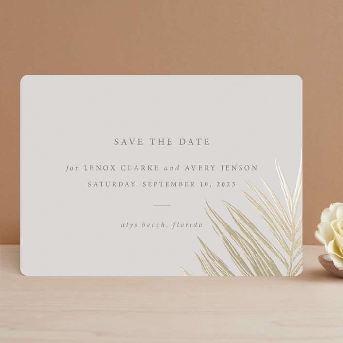 """Gilded Palm"" - Foil-pressed Save The Date Cards in Sand by Melinda Denison."