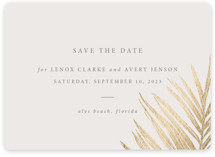 This is a beige foil stamped save the date card by Melinda Denison called Gilded Palm with foil-pressed printing on recycled in standard.
