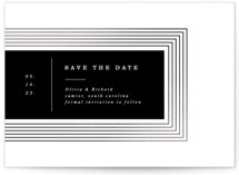 This is a black foil stamped save the date card by Yuliya Evseeva called rhythm with foil-pressed printing on signature in standard.