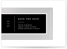 This is a black foil stamped save the date card by Yuliya Evseeva called rhythm with foil-pressed printing on recycled in standard.