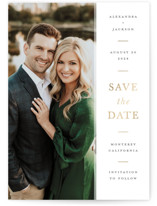 This is a white foil stamped save the date card by Ashley Rosenbaum called Effortless with foil-pressed printing on recycled in standard.