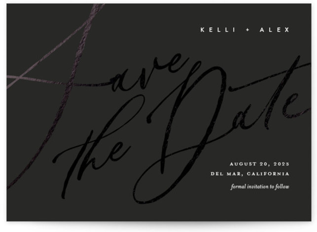 Brush Script Foil-Pressed Save The Date Cards