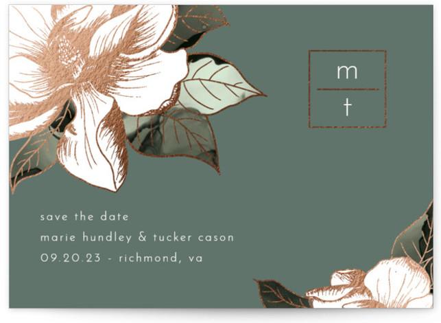 Magnolia Postcard Foil-Pressed Save The Date Cards