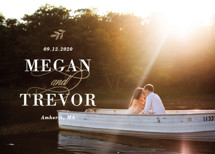 Sunset on the Water Foil-Pressed Save the Date Cards By Meagan Christensen