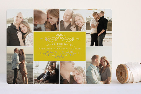 Classic Collage Foil-Pressed Save The Date Cards