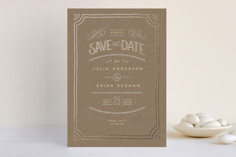 Hand Delivered Foil-Pressed Save The Date Cards
